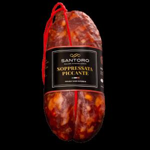 soppressata piccante Santoro intero con etichetta in posizione frontale