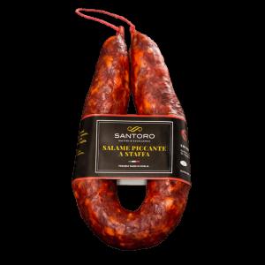 salame a staffa piccante Santoro intero con etichetta in posizione frontale